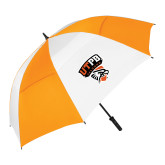 62 Inch Orange/White Umbrella-Official Logo