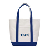 Contender White/Navy Canvas Tote-TSYS