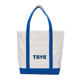 Contender White/Royal Canvas Tote-TSYS