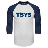 White/Navy Raglan Baseball T-Shirt-TSYS