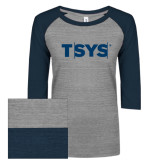 ENZA Ladies Athletic Heather/Navy Vintage Triblend Baseball Tee-TSYS
