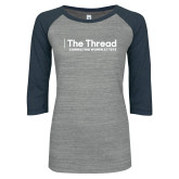 ENZA Ladies Athletic Heather/Navy Vintage Baseball Tee-The Thread