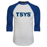 White/Royal Raglan Baseball T Shirt-TSYS