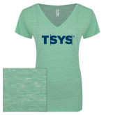 ENZA Ladies Seaglass Melange V Neck Tee-TSYS