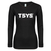 Ladies Black Long Sleeve V Neck Tee-TSYS