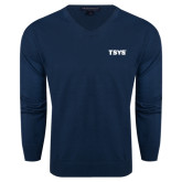 Classic Mens V Neck Navy Sweater-TSYS