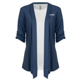 Ladies Navy Drape Front Cardigan-The Thread