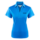 Ladies Light Blue Performance Fine Jacquard Polo-TSYS