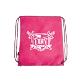 Pink Drawstring Backpack-Troy Trojans Shield