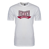 SoftStyle White T Shirt-Troy Trojans Wide Shield