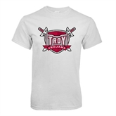 White T Shirt-Troy Trojans Shield