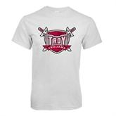 White T Shirt-Troy Trojans Shield