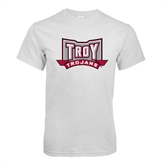 White T Shirt-Troy Trojans Wide Shield