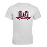 White T Shirt-Troy Trojans Wide Shield
