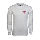 White Long Sleeve T Shirt-Troy Trojans Shield
