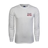 White Long Sleeve T Shirt-Troy Trojans Wide Shield