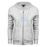 ENZA Ladies White Fleece Full Zip Hoodie-Troy Trojans Shield Foil