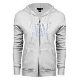ENZA Ladies White Fleece Full Zip Hoodie-Troy Trojans Shield Foil
