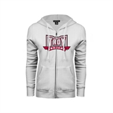 ENZA Ladies White Fleece Full Zip Hoodie-Troy Trojans Wide Shield