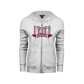 ENZA Ladies White Fleece Full Zip Hoodie-Troy Trojans Wide Shield