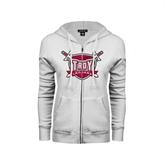 ENZA Ladies White Fleece Full Zip Hoodie-Troy Trojans Shield