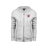 ENZA Ladies White Fleece Full Zip Hoodie-Troy Trojans Shield
