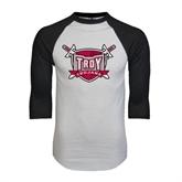 White/Black Raglan Baseball T-Shirt-Troy Trojans Shield