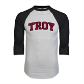 White/Black Raglan Baseball T-Shirt-Arched Troy