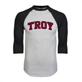 White/Black Raglan Baseball T-Shirt-Arched Troy