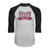 White/Black Raglan Baseball T-Shirt-Troy Trojans Wide Shield