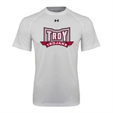 Under Armour White Tech Tee-Troy Trojans Wide Shield