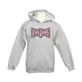 Youth Grey Fleece Hood-Trojans Shield