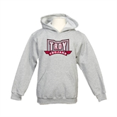 Youth Grey Fleece Hood-Troy Trojans Wide Shield