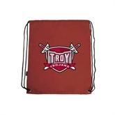 Cardinal Drawstring Backpack-Troy Trojans Shield