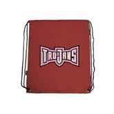 Cardinal Drawstring Backpack-Trojans Shield