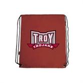 Cardinal Drawstring Backpack-Troy Trojans Wide Shield