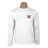 Performance White Longsleeve Shirt-Troy Trojans Shield