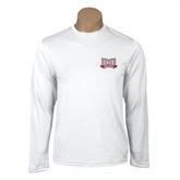 Performance White Longsleeve Shirt-Troy Trojans Wide Shield