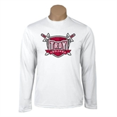 Syntrel Performance White Longsleeve Shirt-Troy Trojans Shield