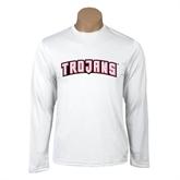 Performance White Longsleeve Shirt-Arched Trojans
