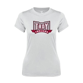 Ladies Syntrel Performance White Tee-Troy Trojans Wide Shield