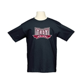 Youth Black T Shirt-Troy Trojans Wide Shield