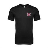 Next Level SoftStyle Black T Shirt-Troy Trojans Shield