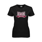Ladies Black T Shirt-Troy Trojans Wide Shield