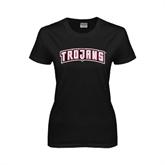 Ladies Black T Shirt-Arched Trojans