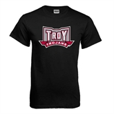 Black T Shirt-Troy Trojans Wide Shield