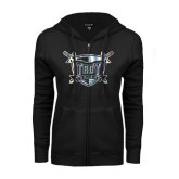 ENZA Ladies Black Fleece Full Zip Hoodie-Troy Trojans Shield Foil