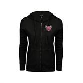 ENZA Ladies Black Fleece Full Zip Hoodie-Troy Trojans Shield