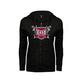 ENZA Ladies Black Fleece Full Zip Hoodie-Troy Trojans Shield