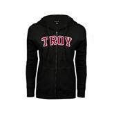 ENZA Ladies Black Fleece Full Zip Hoodie-Arched Troy
